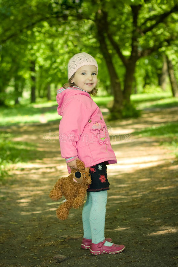 Download Girl with bear stock photo. Image of little, birthday - 12868318