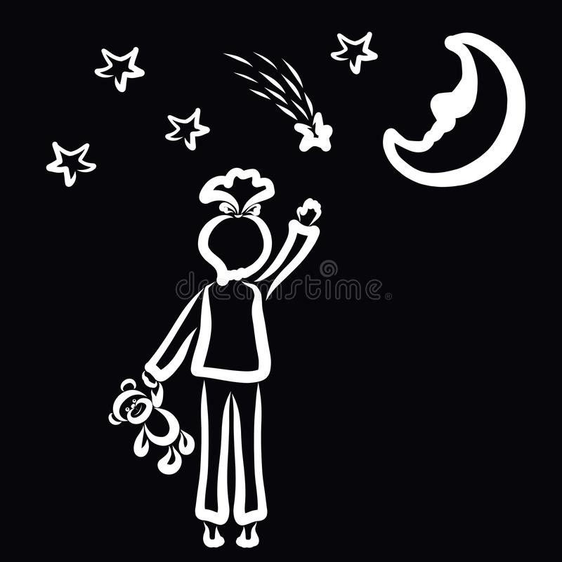 Girl with a bear in her hand waving a falling star or making a wish stock illustration