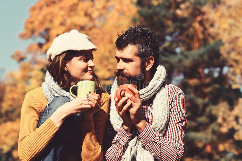 Girl and bearded guy or happy lovers on a date. stock image