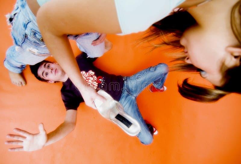 Download Girl Beating Guy stock image. Image of teenagers, surrendering - 1957211