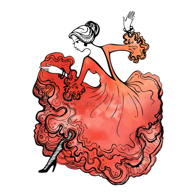 Girl in a beautiful ball gown. Spanish woman dancing flamenco. G stock illustration