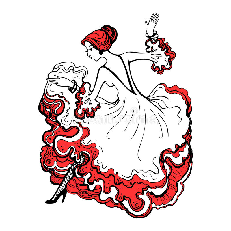 Girl in a beautiful ball gown. Spanish woman dancing flamenco. G. Ypsy woman. Hand drawn vector illustration royalty free illustration