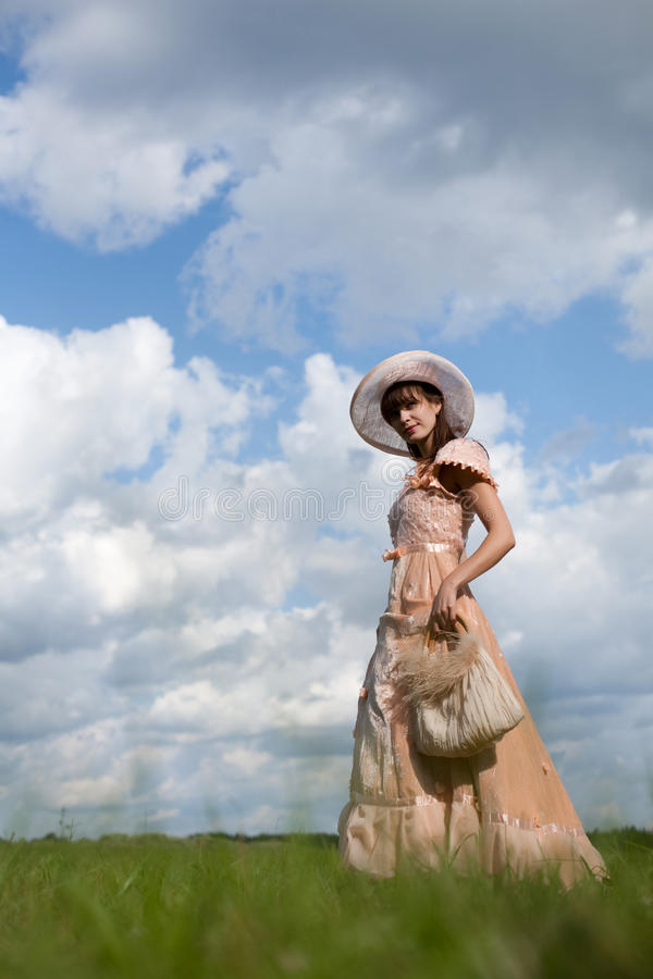 The girl in a beautiful dress stock image