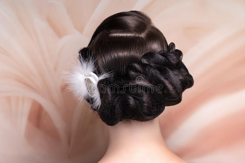 Girl with beautiful evening hairstyle royalty free stock photo