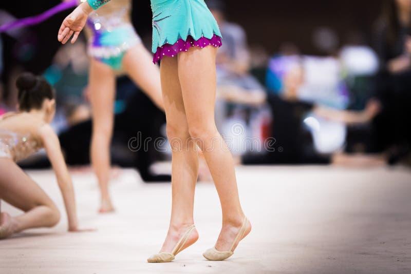 Rhythmic Gymnastics Practice. Flexible Girl Doing Backbend