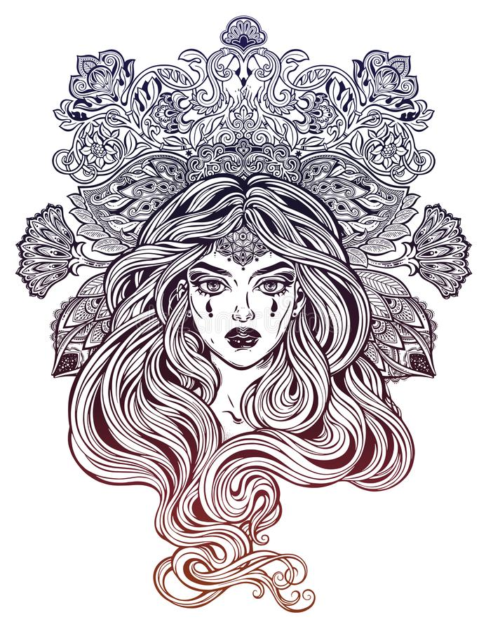 Girl with beautiful long hair in art nouveau style with ornate head piece. Female portrait, hippie summer nymph. Free spirit. Vector isolated illustration stock illustration