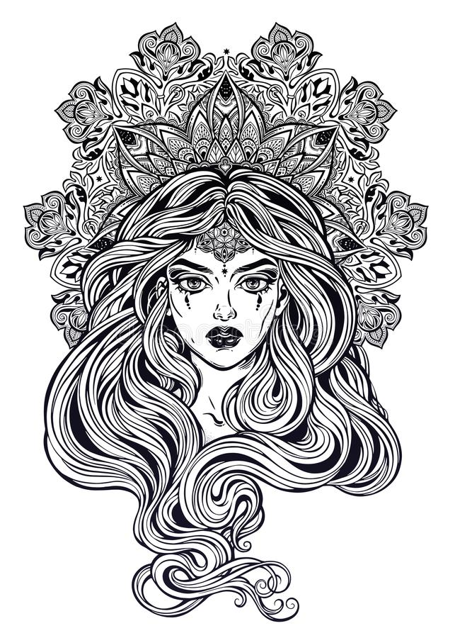 Girl with beautiful long hair in art nouveau style with ornate mandala. Female portrait, hippie summer nymph. Free spirit. Vector isolated illustration vector illustration