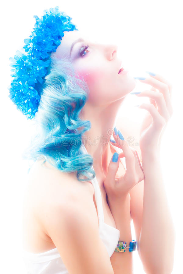 Girl with beautiful make-up and blue hair. stock image
