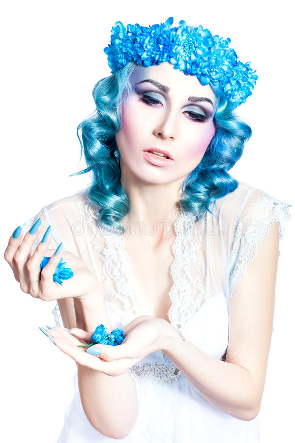 Girl with beautiful make-up and blue hair. royalty free stock photography