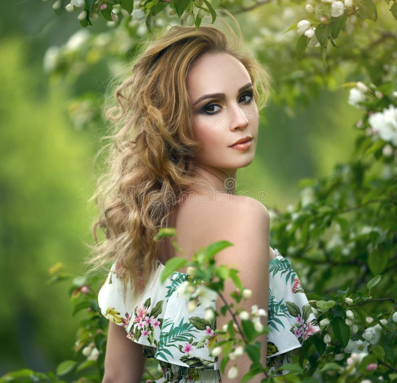 Girl with a beautiful make-up stock photo