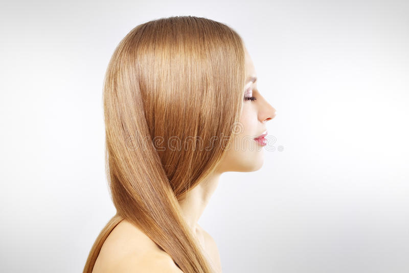 Download Girl With Beautiful Straight Hair On Gray Stock Image - Image: 23070855