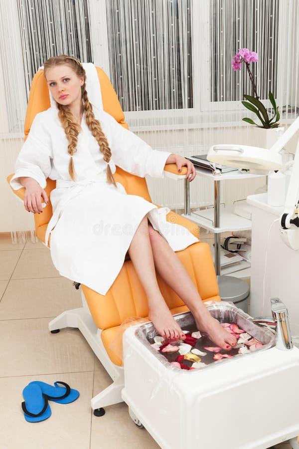 Girl in beauty salon royalty free stock photo