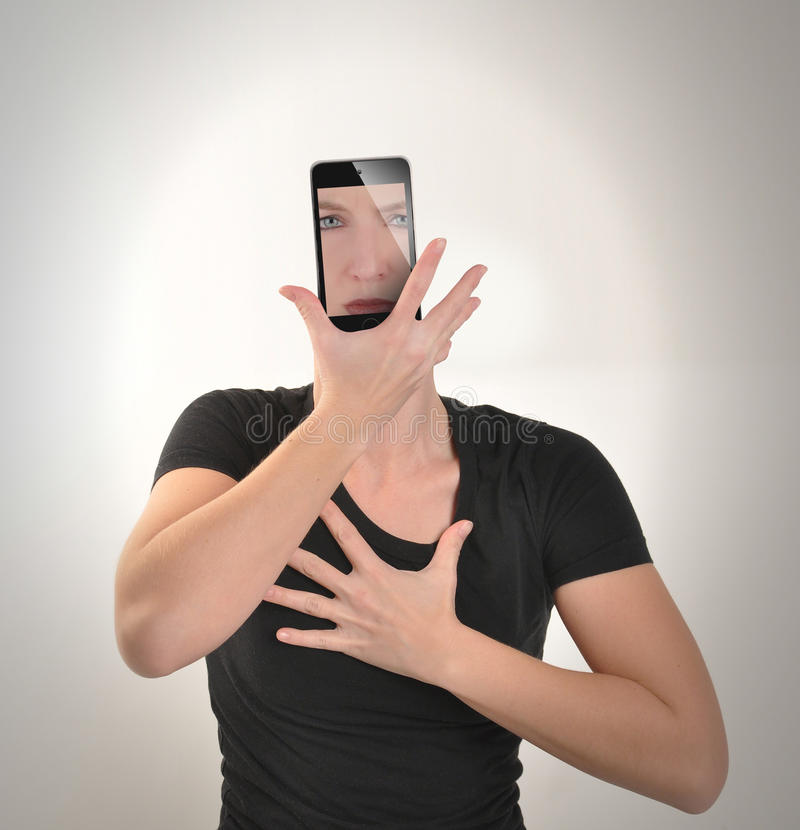 Girl Becomes Smartphone on White royalty free stock images