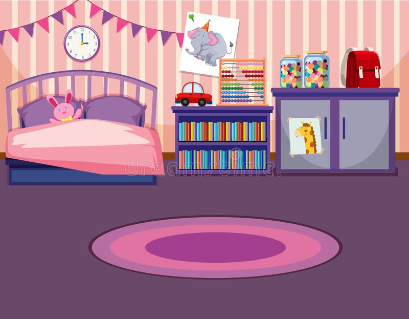 A girl bedroom template royalty free illustration