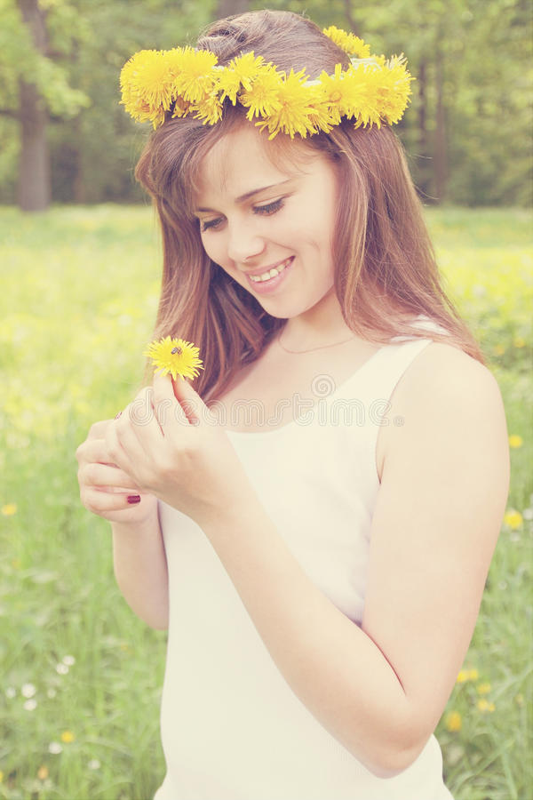 Girl with bee stock photos