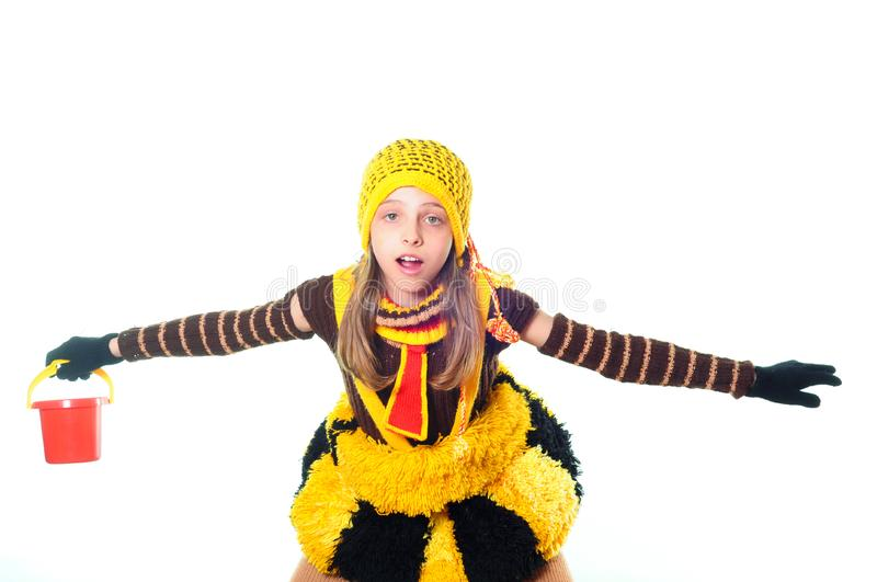 Download Girl in bee dress stock image. Image of yellow, excited - 10015333