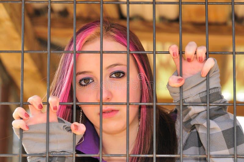 Girl behind bar royalty free stock image