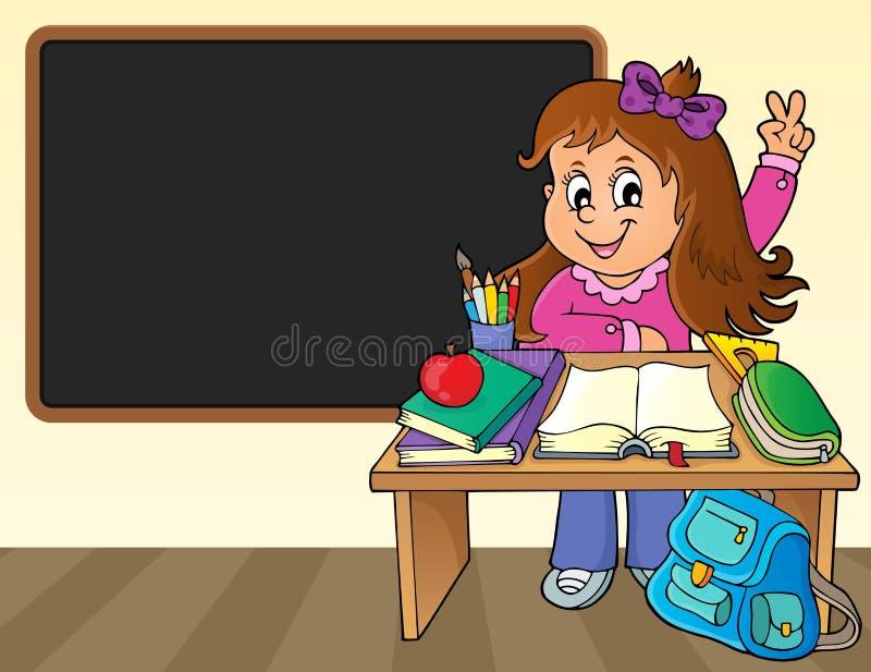 Girl behind school desk theme image 2 stock illustration