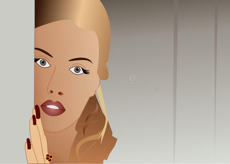 Girl behind wall royalty free stock photography