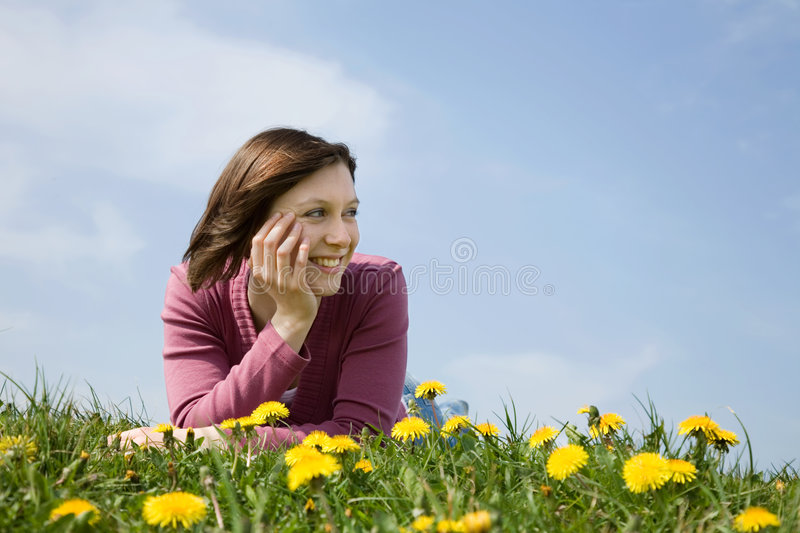 Download Girl being happy stock photo. Image of meadow, lying, model - 2294972