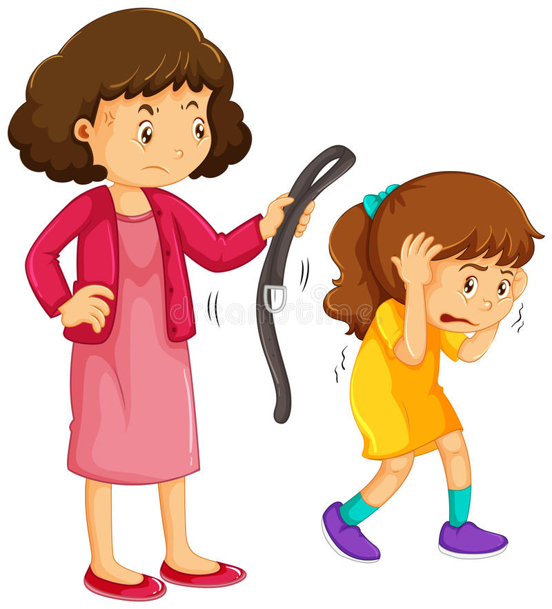 Girl being punished by mother stock illustration