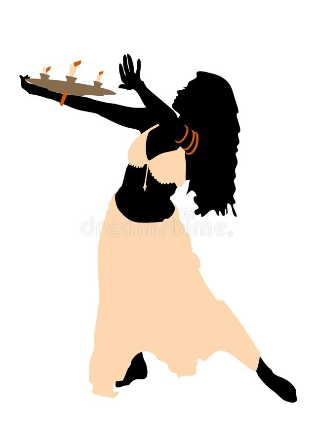 Girl in belly dance. With fire royalty free illustration