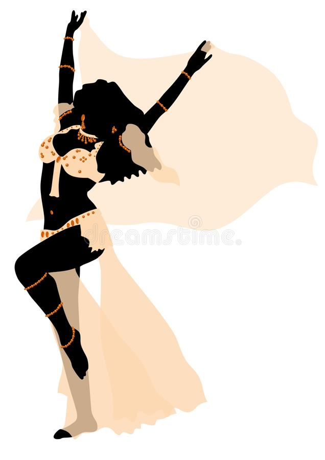 Girl in belly dance. Beautiful girl in belly dance vector illustration
