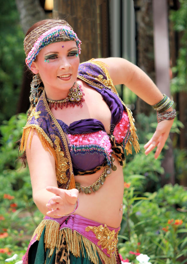 Girl belly dancing