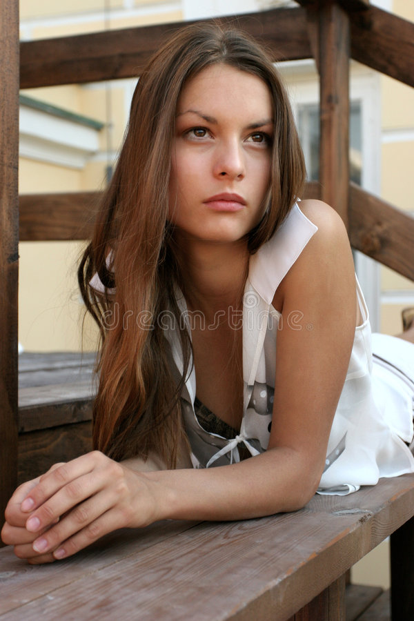 Download The girl on a bench stock image. Image of brunette, lovely - 197429