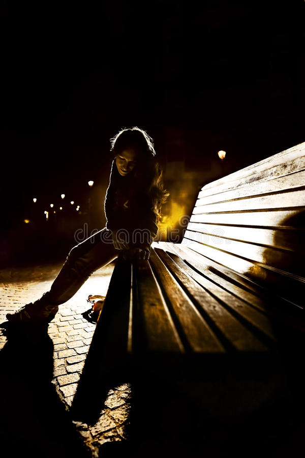 Download Girl on the bench stock photo. Image of lady, beautiful - 27174248
