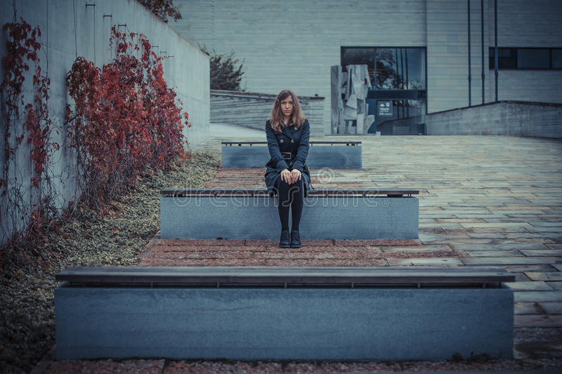 Download Girl On The Bench Royalty Free Stock Images - Image: 27385339