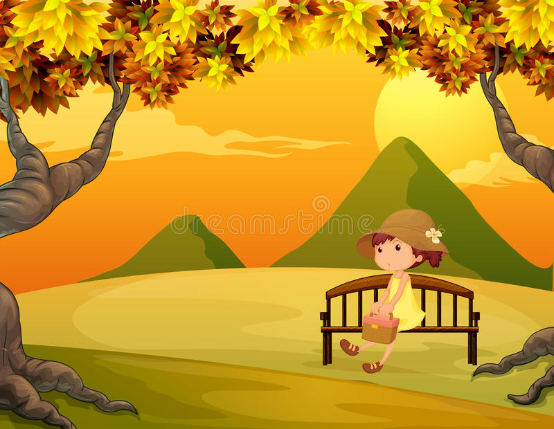 A girl at the bench in the park stock illustration