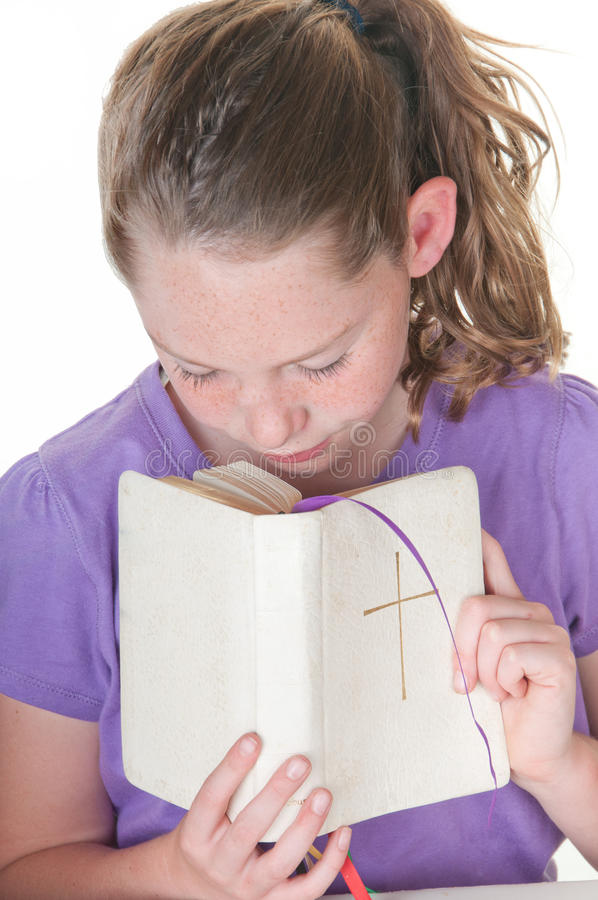 Download Girl with Bible stock photo. Image of child, meditate - 19179270