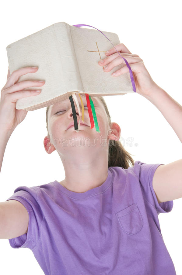 Girl With Bible Royalty Free Stock Photos