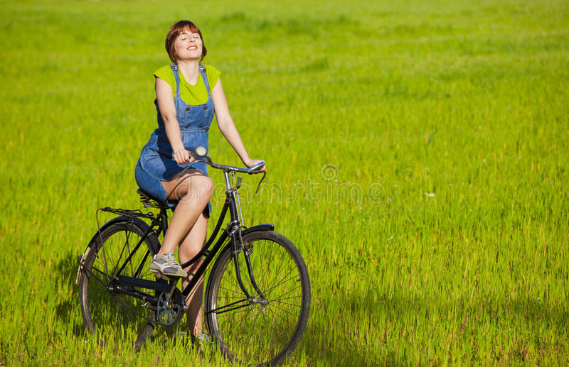 Download Girl with a bicycle stock image. Image of leisure, lifestyle - 14046931