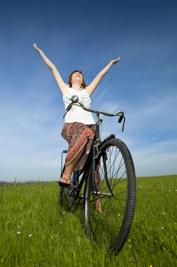 Download Girl with a bicycle stock image. Image of beauty, meadow - 14750823