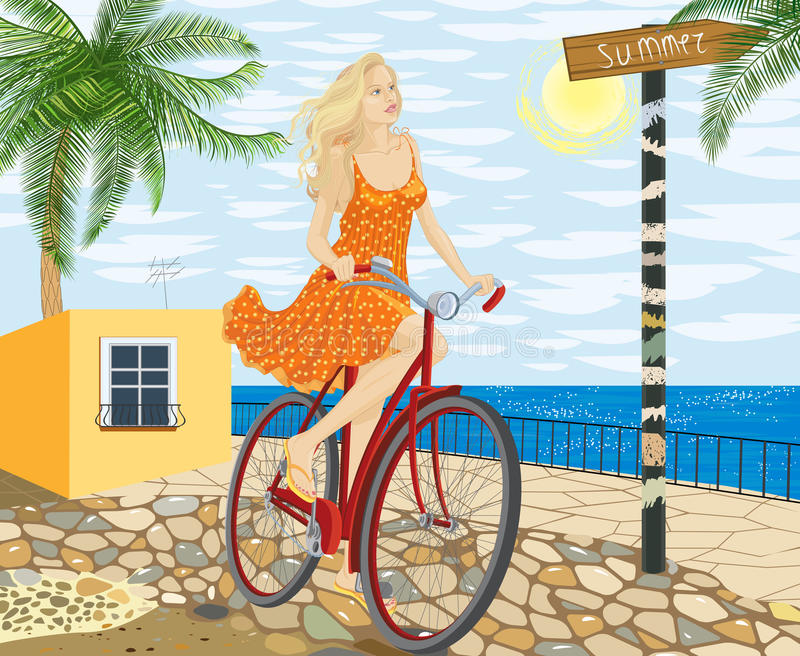 Download Girl on a bicycle stock vector. Image of illustration - 23969415