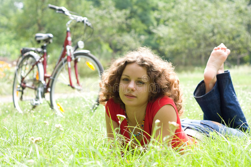 Download Girl With A Bicycle Royalty Free Stock Image - Image: 8666156