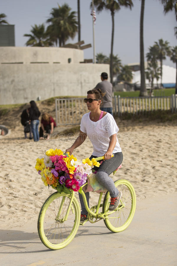 Girl on bicycle. stock photos
