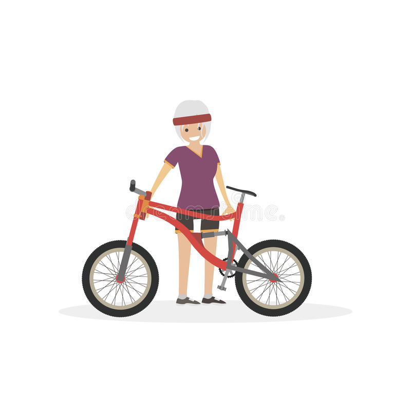 Girl with bicycle. Woman athlete. Character vector flat illustration people. stock photo