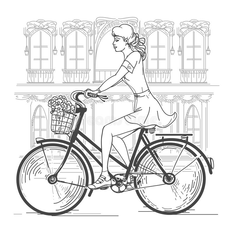Girl bicyclist in Paris stock illustration