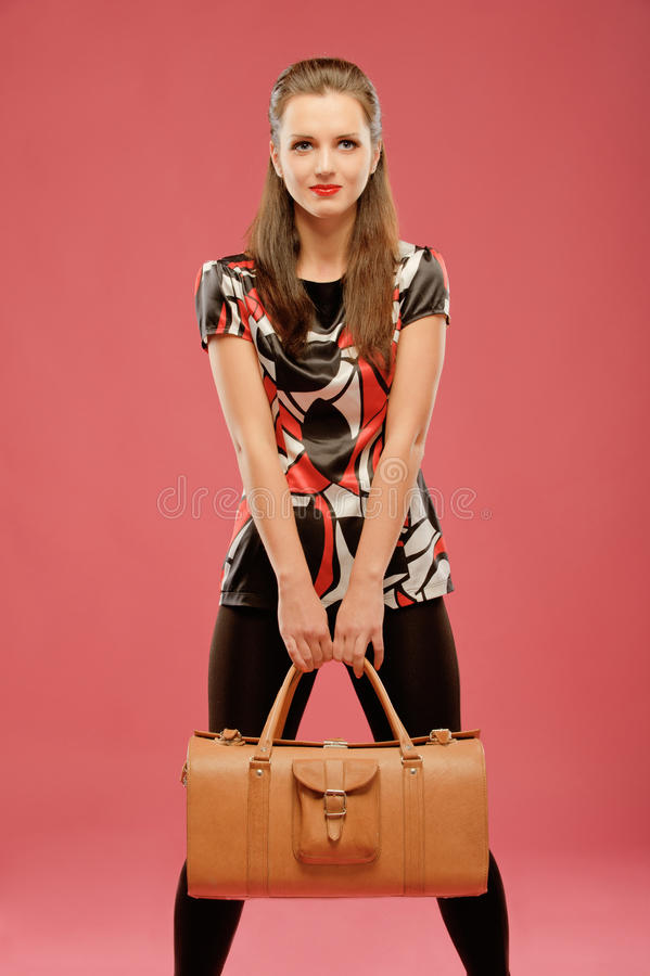 Download Girl with a big bag stock image. Image of clean, clothing - 19099521
