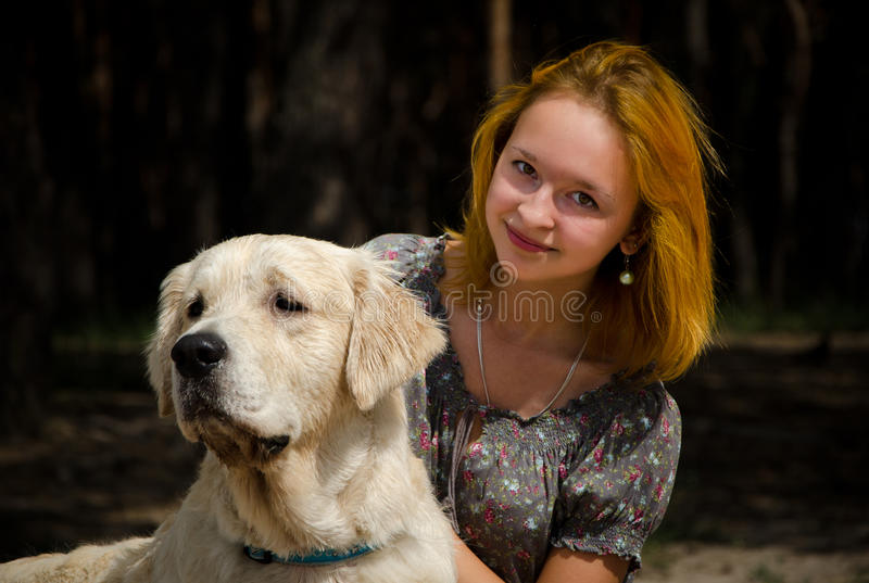 Download Girl with a big dog stock image. Image of summer, tree - 20803667
