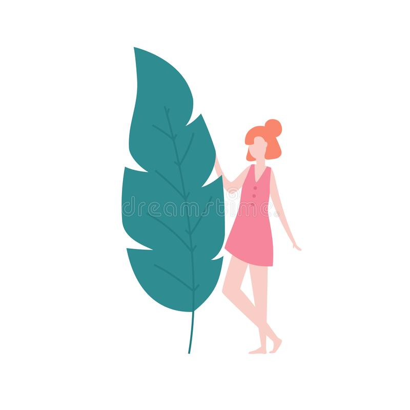 Girl and the big leaf isolated on white background, vector illustration in flat design. People having reunion with. Nature concept illustration stock illustration
