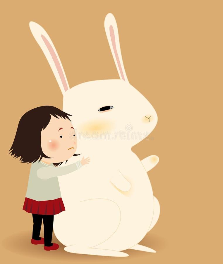 Girl and big rabbit stock illustration