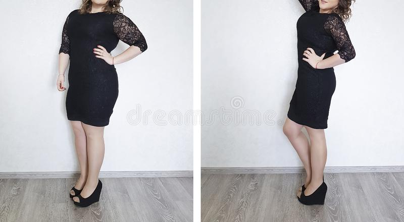 Girl big large size problem before and after result diet excess loss health royalty free stock images