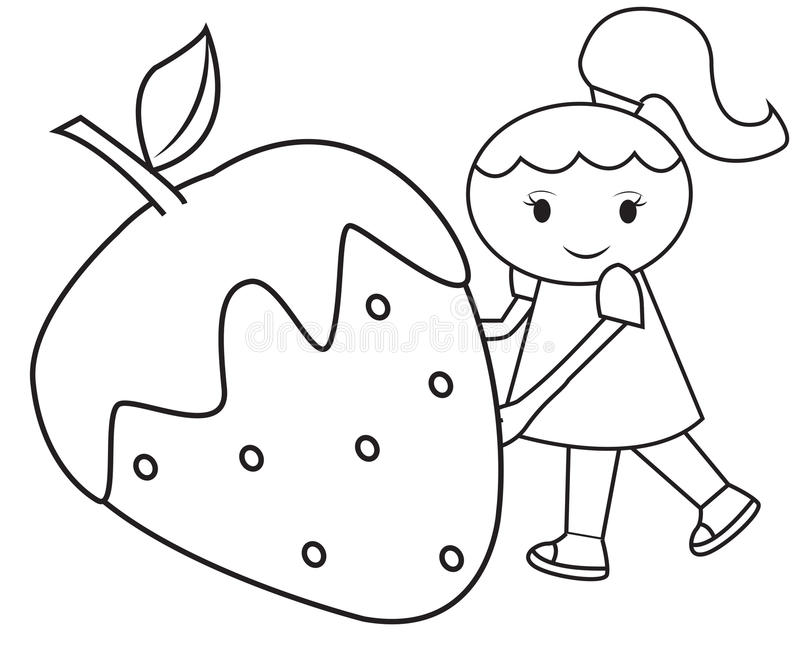 the girl and the big strawberry coloring page stock illustration