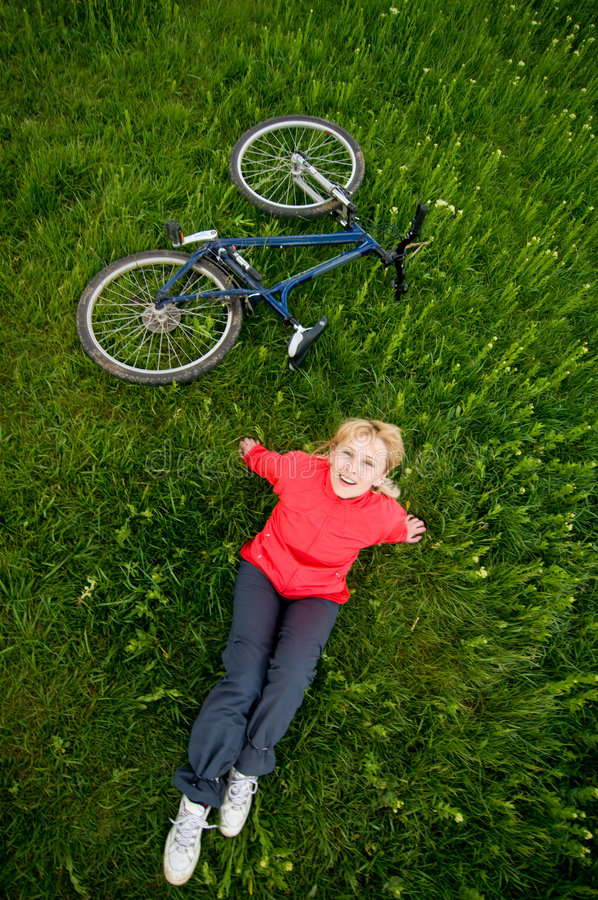 Download Girl with bike stock image. Image of land, recreational - 9326083