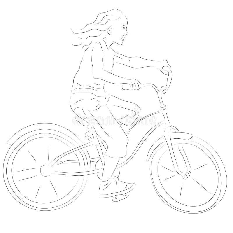 Download Girl on a bike sketch stock illustration. Image of child - 28697469