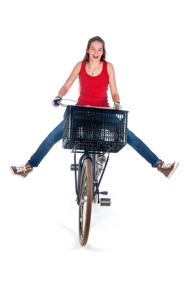 Girl on a bike stock photos